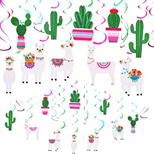 20 Pieces Llama Cactus Hanging Swirl Decorations Swirl Ceiling Decor for Llama Themed Baby Shower Birthday Party Supplies