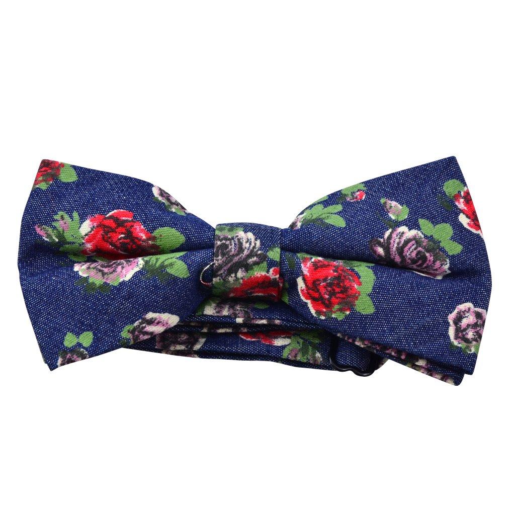 OX Legacy Denim Bow Tie in Flower Design