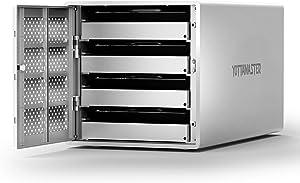 Yottamaster Aluminum Alloy 4 Bay 2.5/3.5 Inch USB3.0 RAID External HDD Array Enclosure SATA3.0 Support 4 x 16TB & UASP -Silver