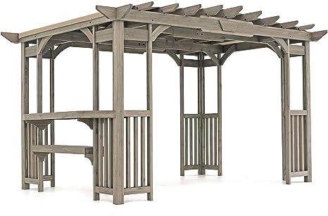 Cedar Pergola Gazebo con contador de barras y parasol en madera gris manchas 30,48 cm x 20,32 cm