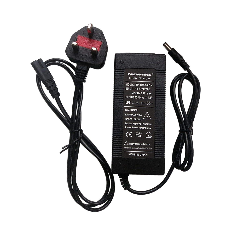 Tangspower 54.6V1.5A Cargador 54.6V 1.5A Batería de Litio Eléctrica para Bicicleta DE 48 V Litio Batería Pack DC5.5 * 2.1MM UK Plug China 54615DC