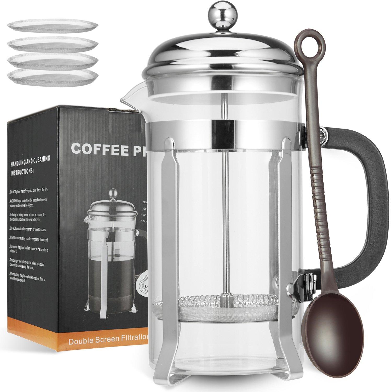 MeetU French Press Coffee Tea Maker 34oz FDA 304 Stainless Steel BPA-Free Borosilicate Glass Coffee Press Maker