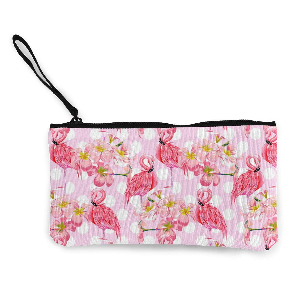 Coin Pouch Beautiful Flamingo Bird Polka Dot Canvas Coin Purse Cellphone Card Bag With Handle And Zipper