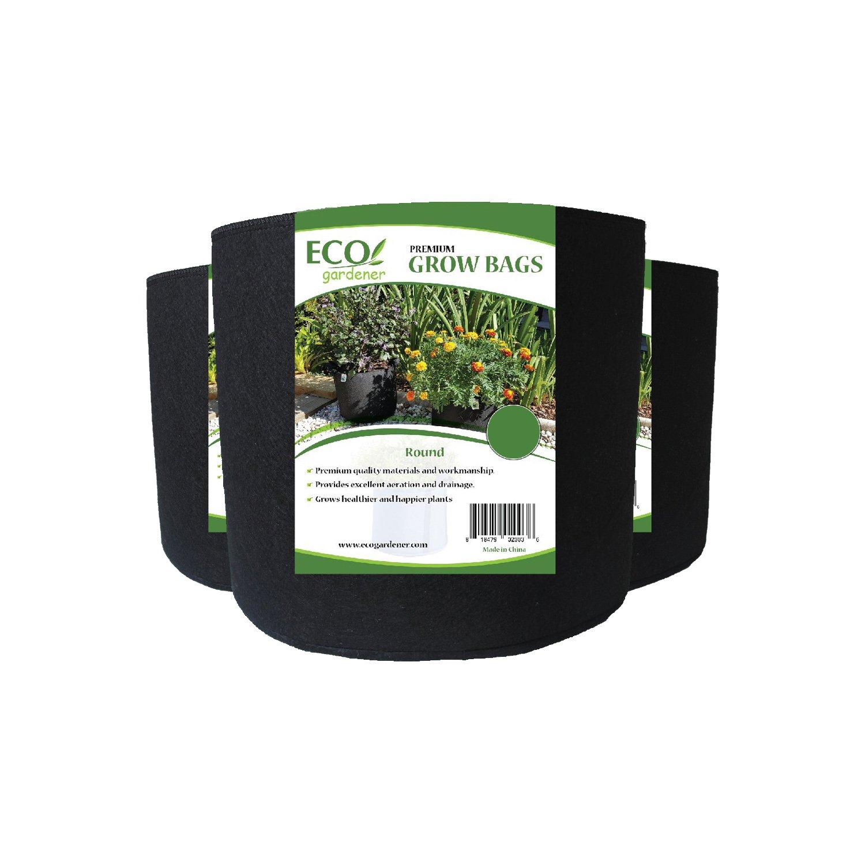 ECOgardener Grow Bags 10 Gallon with Handles - 5Pk. Premium Quality Fabric Plant Pots.