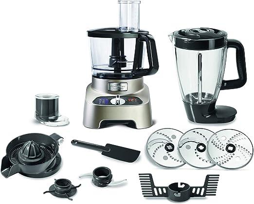 Moulinex Double Force FP824H 1000W 3L Gris, Plata - Robot de cocina (3 L, Gris, Plata, Botones, Giratorio, 2 L, De plástico, De plástico): Amazon.es: Hogar