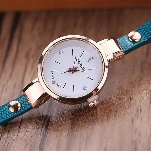 Amazon.com: LtrottedJ Women Leather Rhinestone Analog Quartz Wrist Watches (Blue): Health & Personal Care