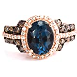 LeVian Deep Sea Blue Topaz Ring Chocolate and Vanilla Diamonds 2.52 cttw 14K Rose Gold Size 7