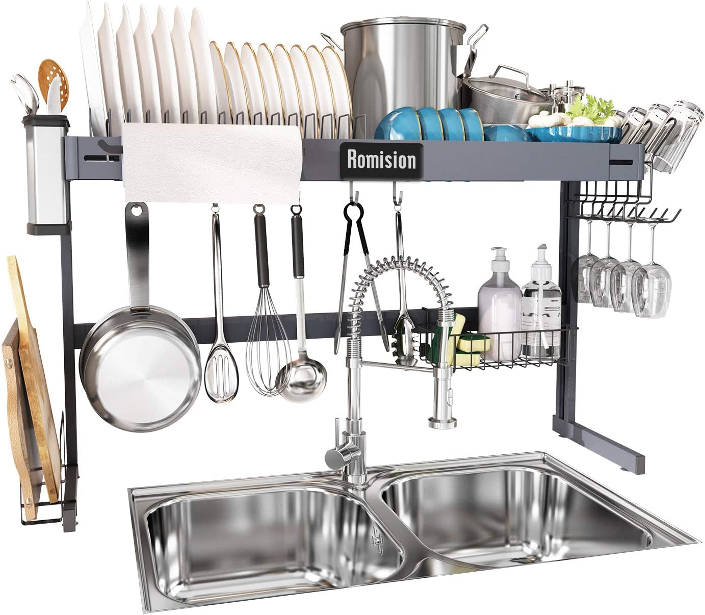 Over the Sink Dish Drying Rack Height Adjustable, Romision Stainless Steel Large Expandable Dish Drainer Shelf Above Sink for Kitchen Counter Organization Storage (Grey, 31≤ Sink Size ≤ 35.2 inch)