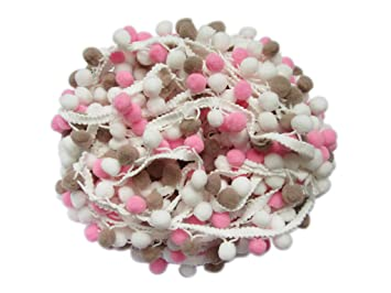 5 Yards YYCRAFT Top Quality Rainbow Pink Pom Pom Ball fringe Trim Ribbon Sewing