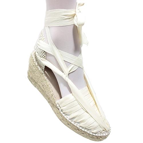 Alpargatas Cuña Alta Pintxo o Siete Vetas Beige - Beig, 35: Amazon.es: Zapatos y complementos