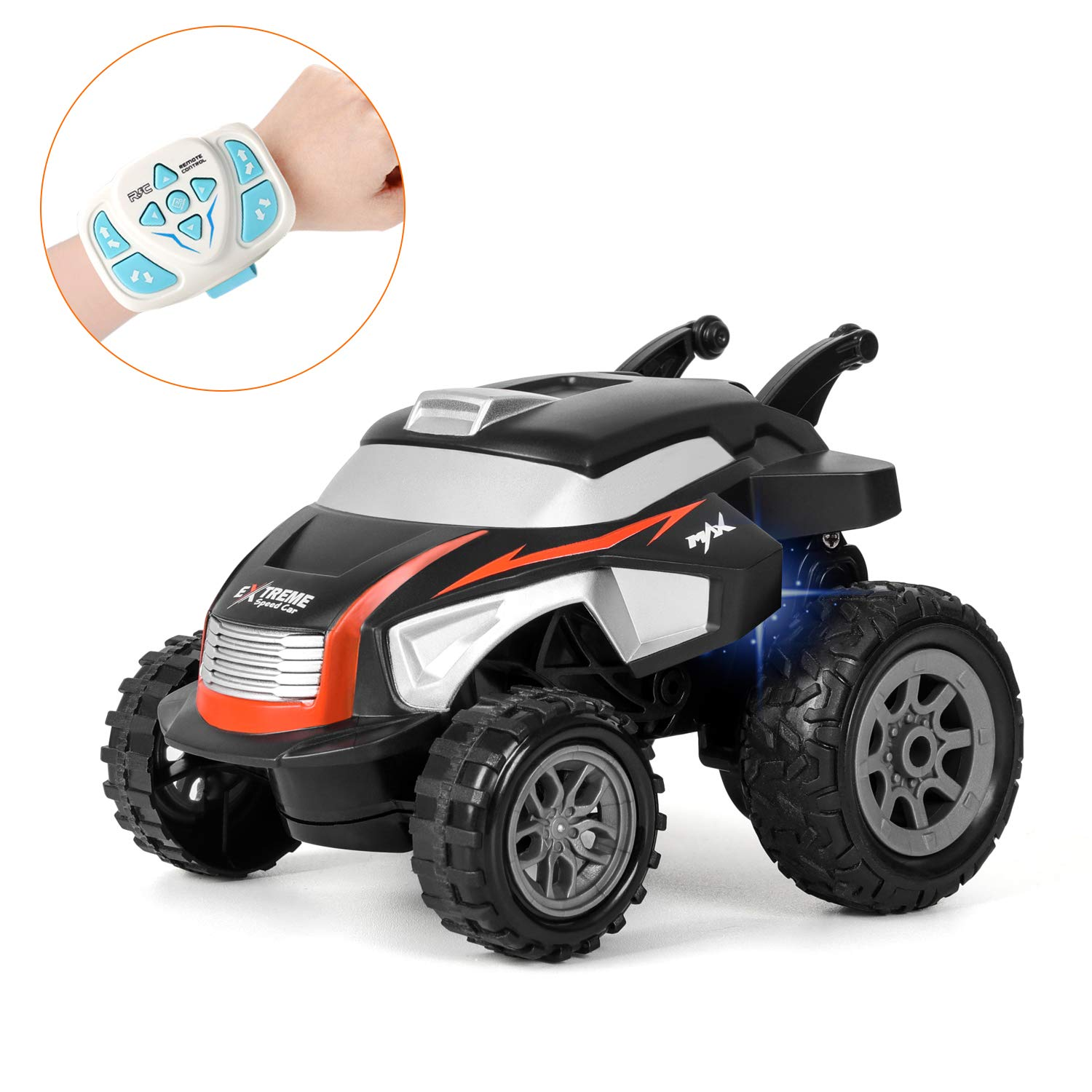 RC Cars, Wrist Watch Remote Control Car Toy, 2.4Ghz RC Off Road Cars 360 Degree Rotating Vehicles, Small Stunt RC Cars, Kids Toy Cars for Boys & Girls Birthday Gift