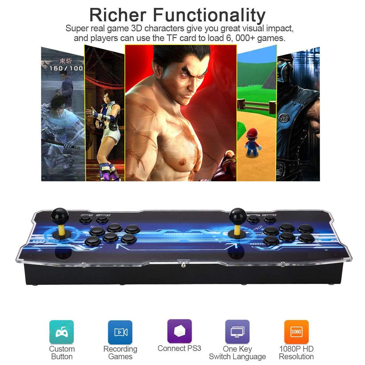 3D Pandora's Key Retro Home Arcade Game Console | No Games Pre-loaded | Full HD (1920x1080) Video | 2 Player Game Controls | Support 4 Players | Add More Games | HDMI/VGA/USB/AUX Audio Output by HAAMIIQII (Image #4)