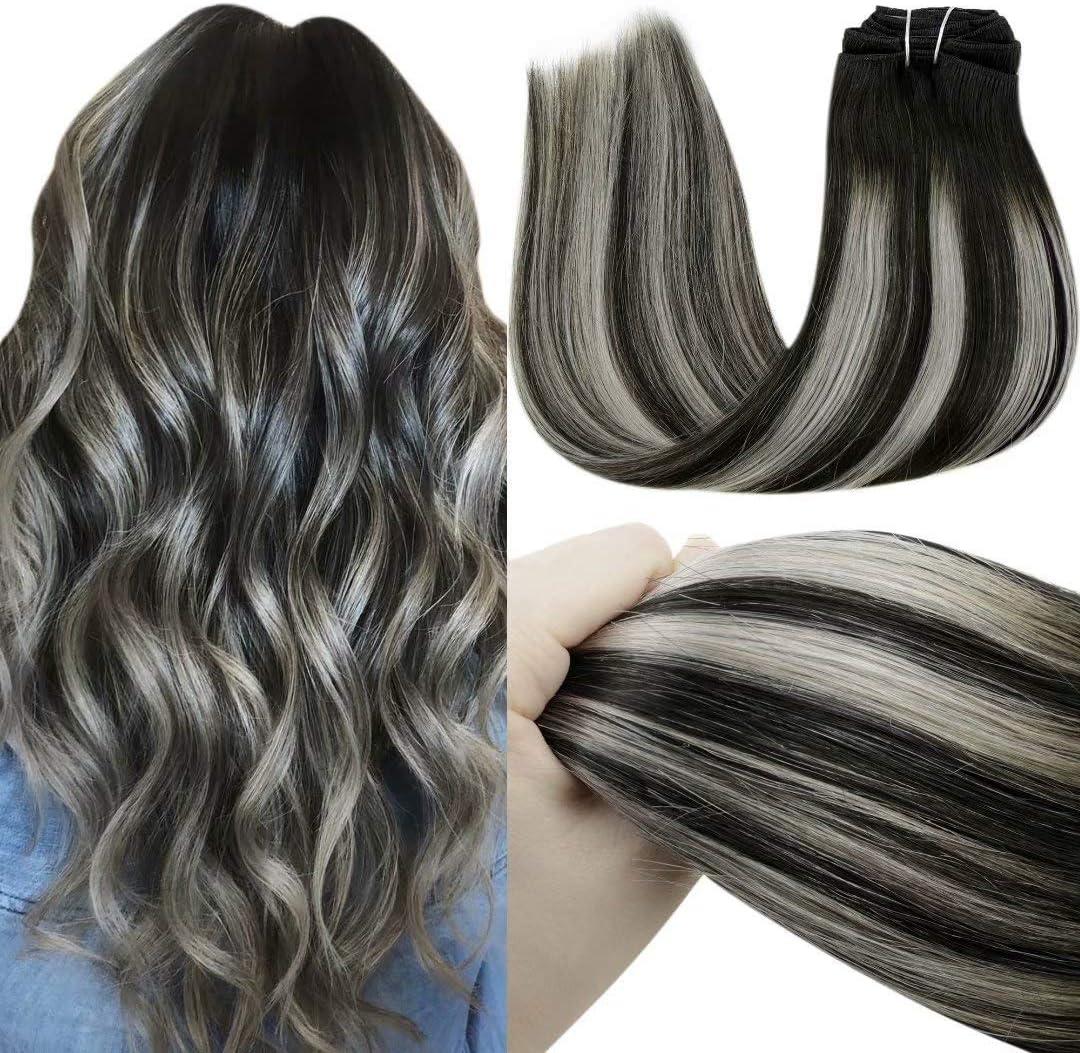 LaaVoo Clips Extensiones de Pelo 16 Pulgadas Remy Balayage Human Hair Clip in Extensions Balayage Negro Ombre to Gris Silver Extensiones Clip de ...