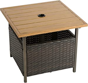 AbocoFur Patio Wicker Side End Table with Umbrella Hole, Square Steel Frame Bistro Dining Table with Storage Space, Outdoor Leisure Coffee Table for Garden, Backyard, Porch, Brown