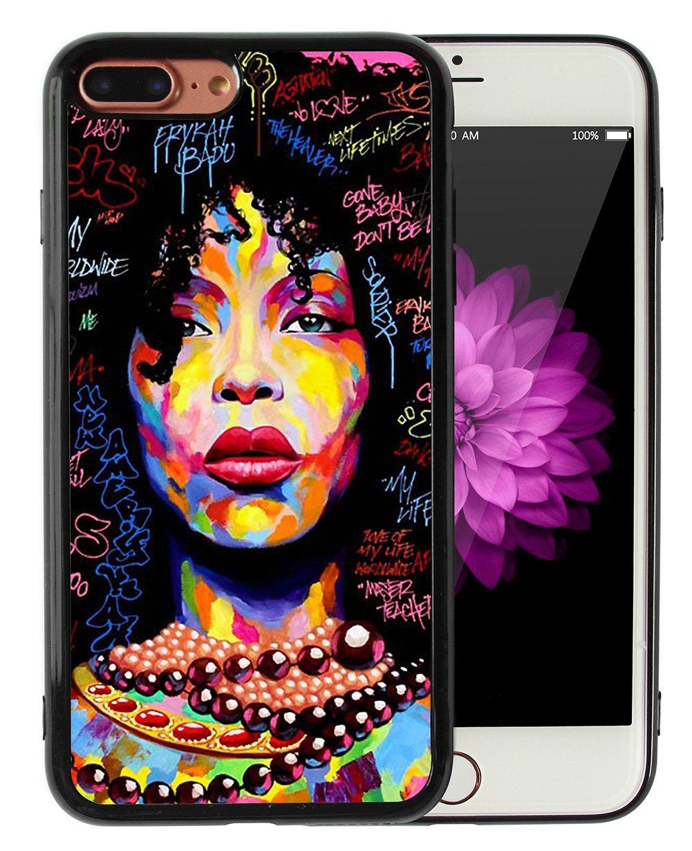 iPhone 7 Plus iPhone 8 Plus Case African American Afro Girls Women Black  Hair Colorful Watercolor Artistic Alphabet Print Design Art Slim Fit in  Tough ... 4645f5a73b