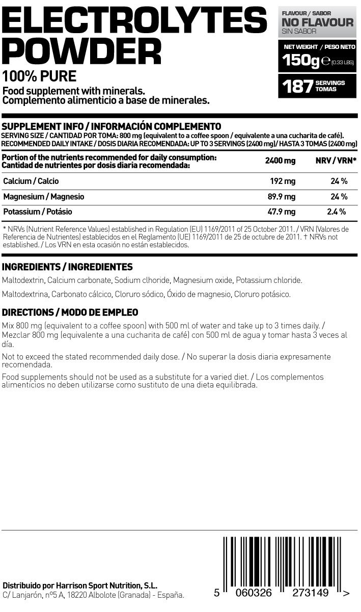 HSN RAW - Electrolitos en Polvo para la Hidratación y Recuperación Sales Minerales - 150 gr: Amazon.es: Salud y cuidado personal