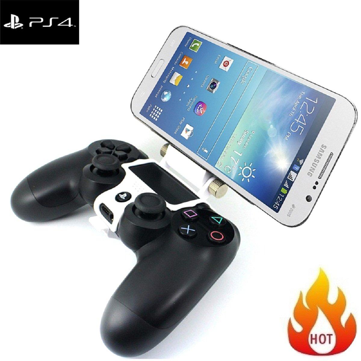 180 Grado teléfono celular juegos Clip, Megadream Playstation PS4 controlador juego soporte de teléfono inteligente de almacenamiento soporte de tablet ...