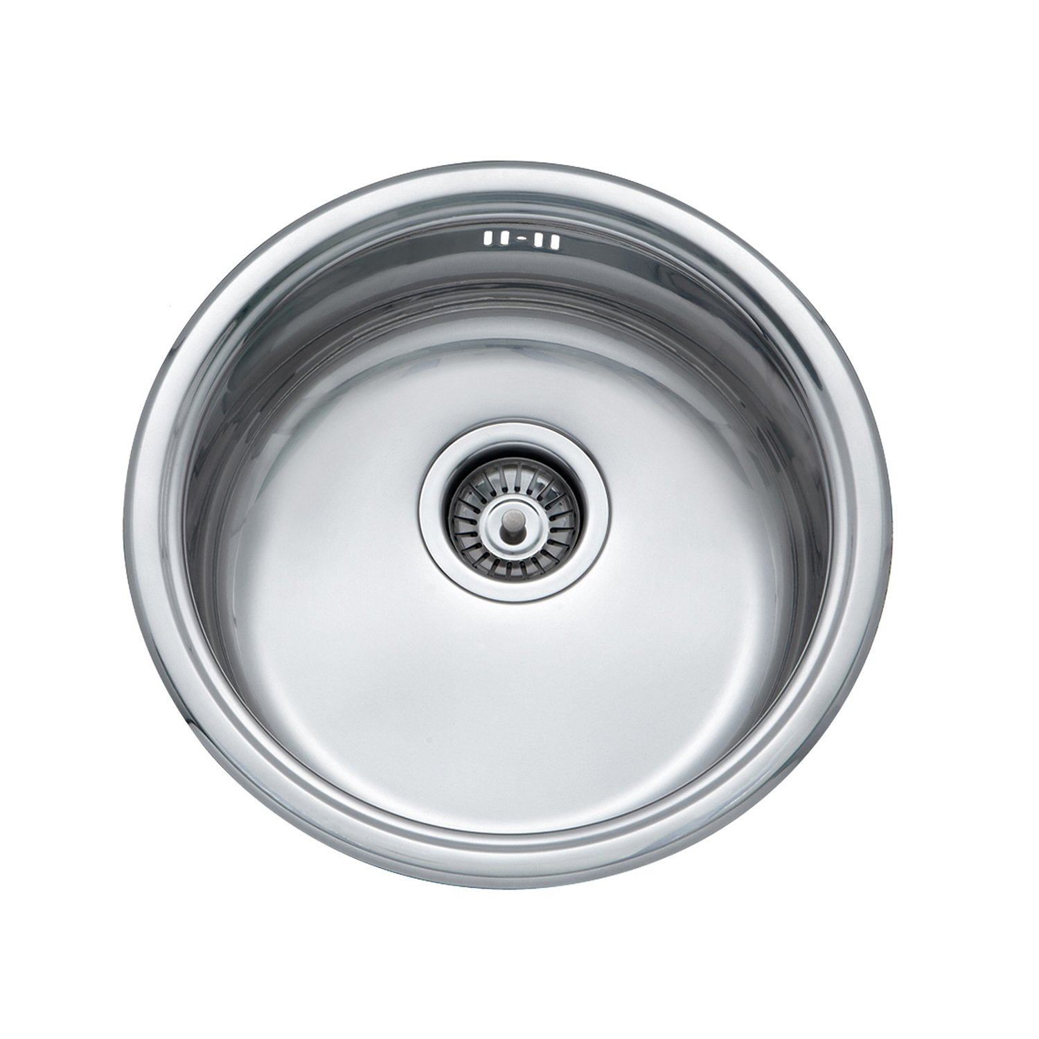 JASS FERRY 145mm Depth Drainer Stainless Steel Round Bowl Kitchen Sink with Strainer Waste Pipes Clips - 10 Year Guarantee