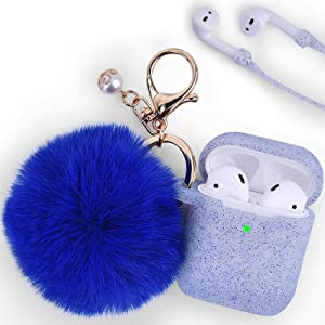 Filoto Case for Airpods, Airpod Case Cover for Apple Airpods 2&1 Charging Case, Cute Air Pods Silicone Protective Accessories Cases/Keychain/Pompom/Strap, Best Gift for Girls and Women, Sapphire Blue