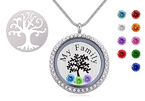 d0d22517b Beffy Family Tree Pendant Necklace,Floating Charm Living Memory Locket Pendant  Necklace with Birthstone,