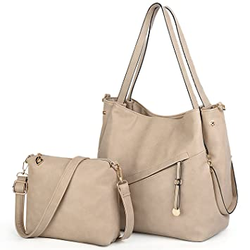211a6b238336 Image Unavailable. UTO Women Tote Bag 2 Pcs Set Handbag Soft Vegan Leather  Top Handle Front Zip Pocket