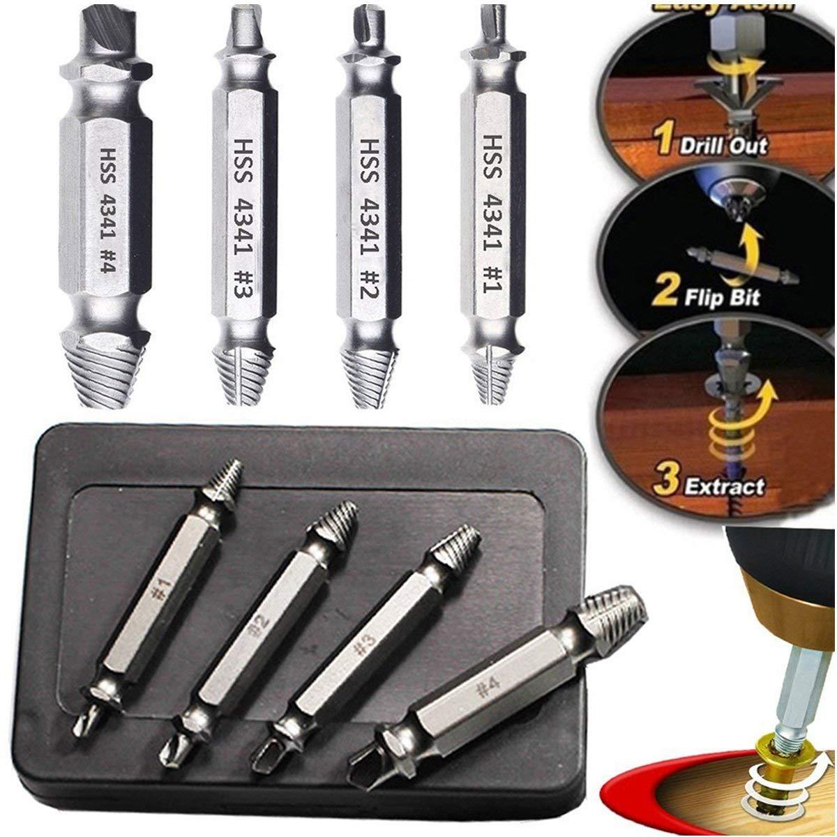 vis de boulon extracteurs de vis Kit extracteur de vis endommag/é pour enlever facilement les vis d/énud/ées cass/ées forets et forets