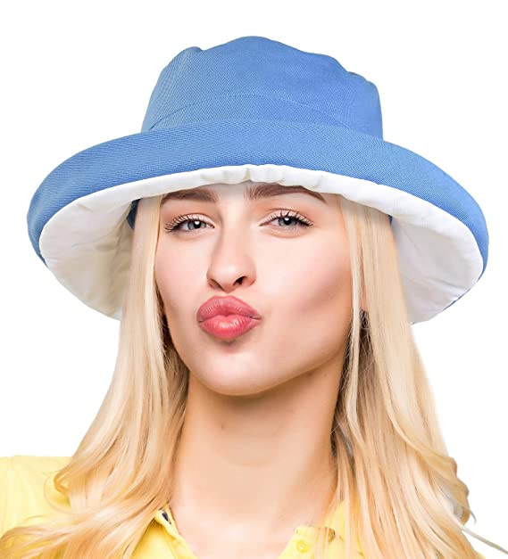 ce081a7e3cd Women s Sun Bucket Hat Reversible UV Protection Travel Beach Cap Foldable  Blue