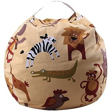 THEE - Bolsa para Guardar Juguetes, diseño de Rayas, Zoo, 32