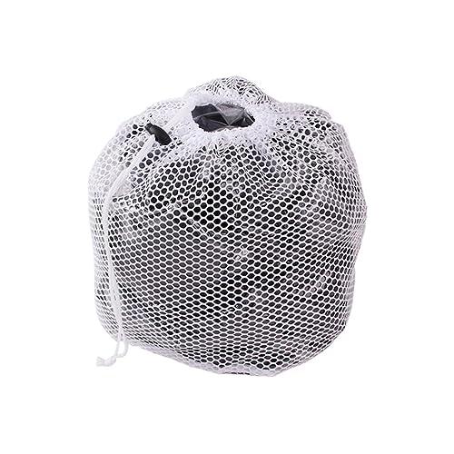EJY Blanc sacs à linge, Cordon de serrage grosse maille trou laver sacs, Sacs de blanchissage, filet de lavage de chemisier/ soutien-gorge/ sous-vêtements ou chaussettes (XL)