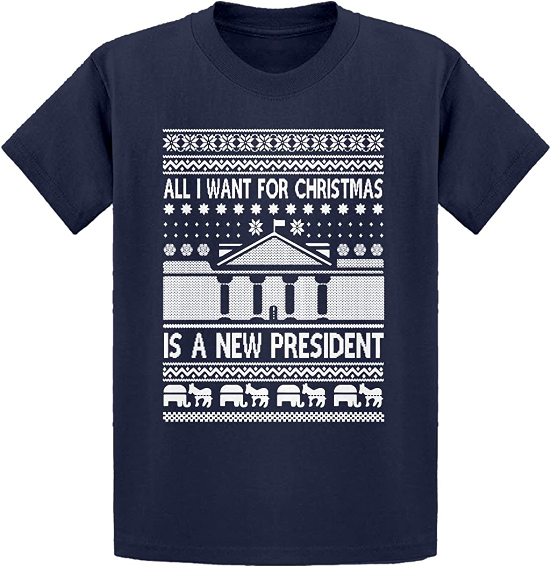 Indica Plateau All I Want for Christmas is a New President Kids T-Shirt