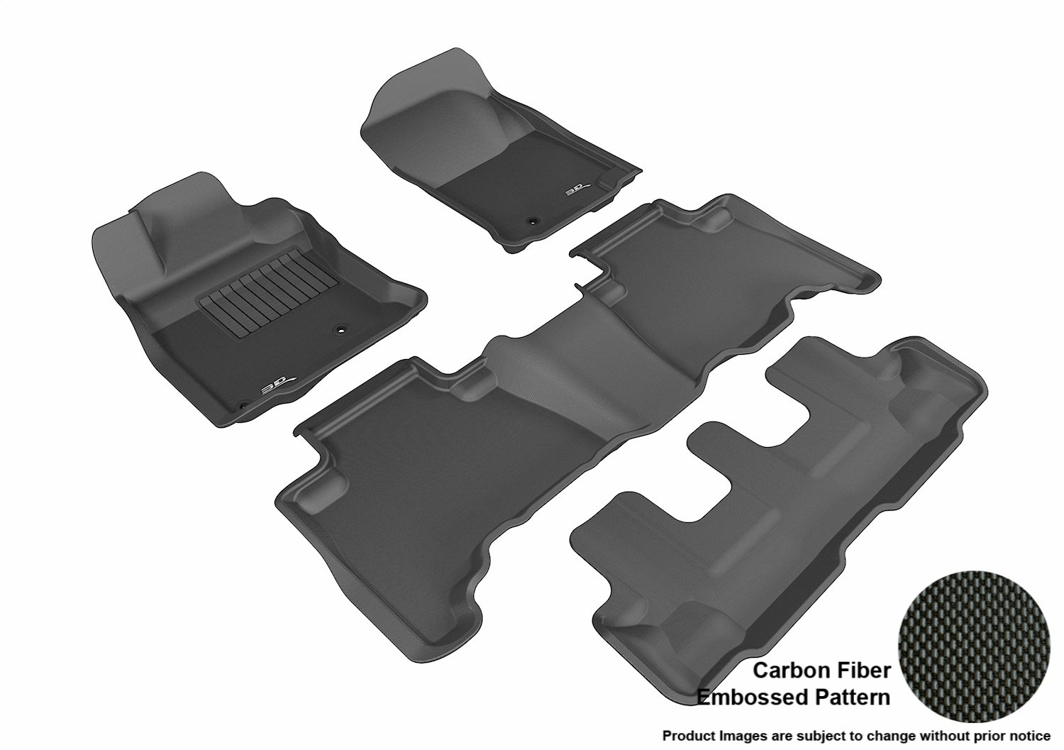 Kagu Rubber 3D MAXpider Second Row Custom Fit All-Weather Floor Mat for Select Toyota 4Runner Models Black