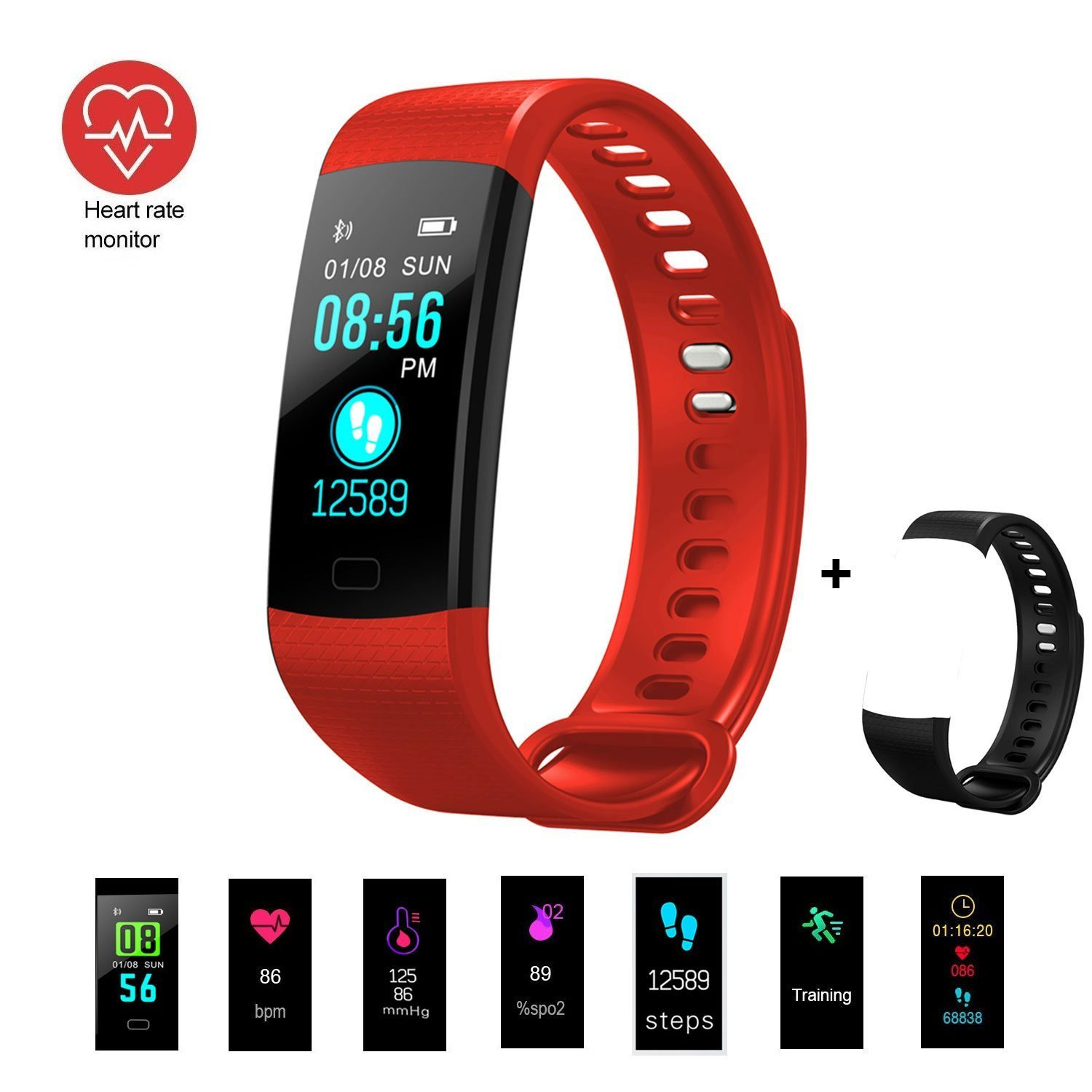 Fitness Tracker, Activity Tracker Fitness Watch with Heart Rate Monitor Color Screen,Waterproof Smart Bracelet with Step Counter,Calorie Counter,Pedometer for Kids Women Men Android iOS