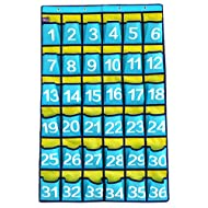 36 Pockets Numbered Classroom Pocket Chart for Cell Phones Hanging Organizer with 4 Metal Hooks, Blue