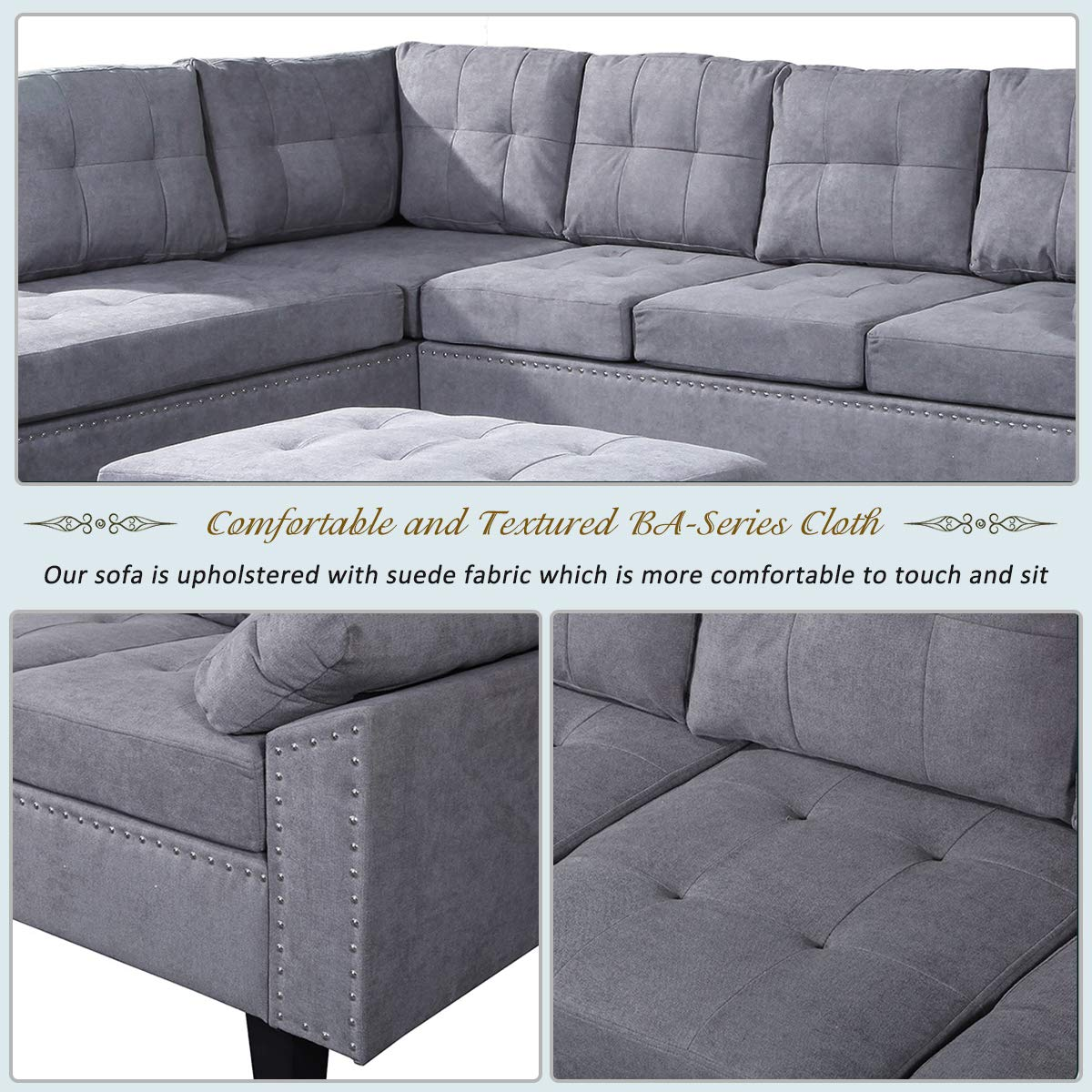 Amazon.com: Sofá modular con chaise longue y otomana ...