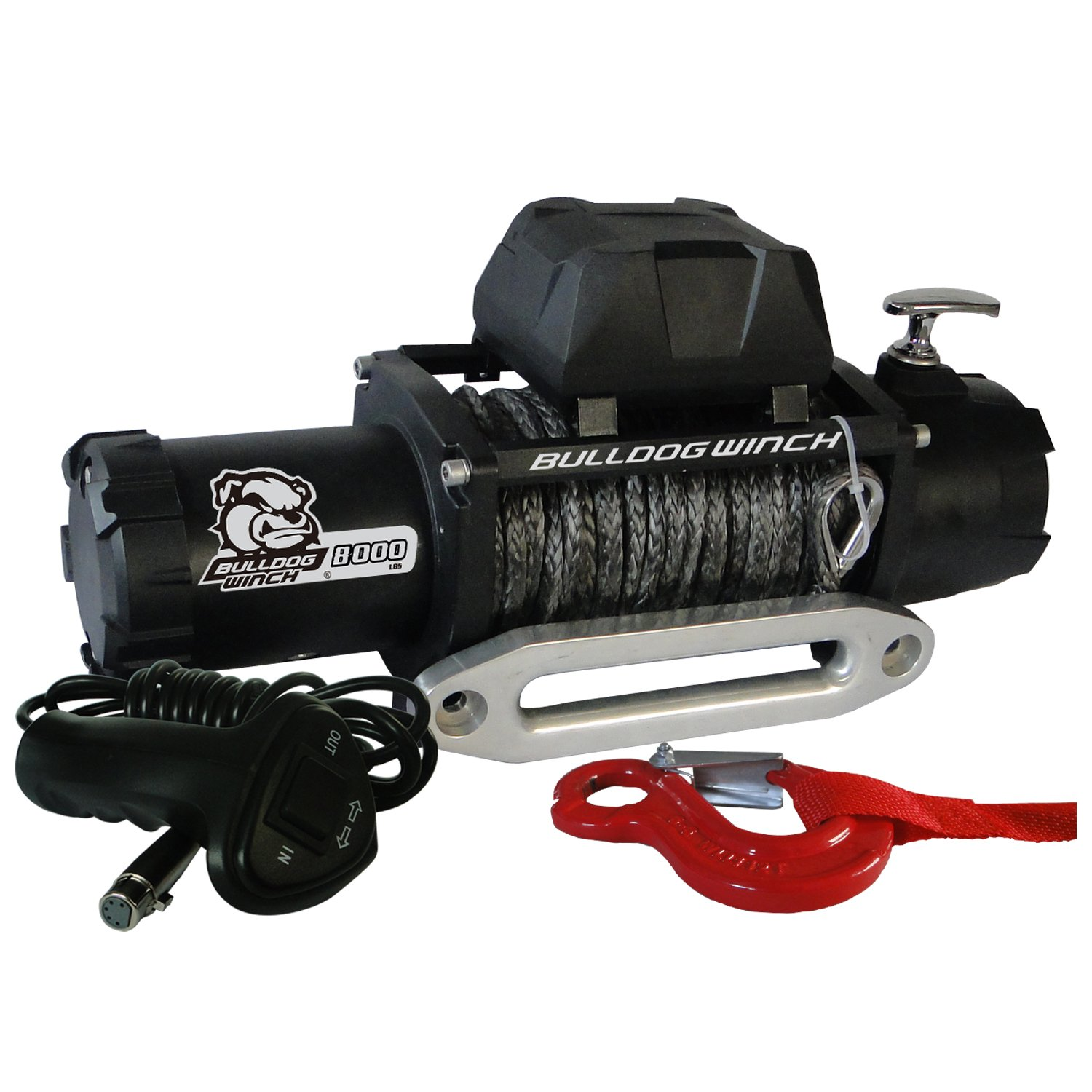 Bulldog Winch 10044 Winch 8000lbwith 5.2hp Series Wound Motor,100ft Synthetic Rope, CNC Billet Aluminum Hawse Fairlead