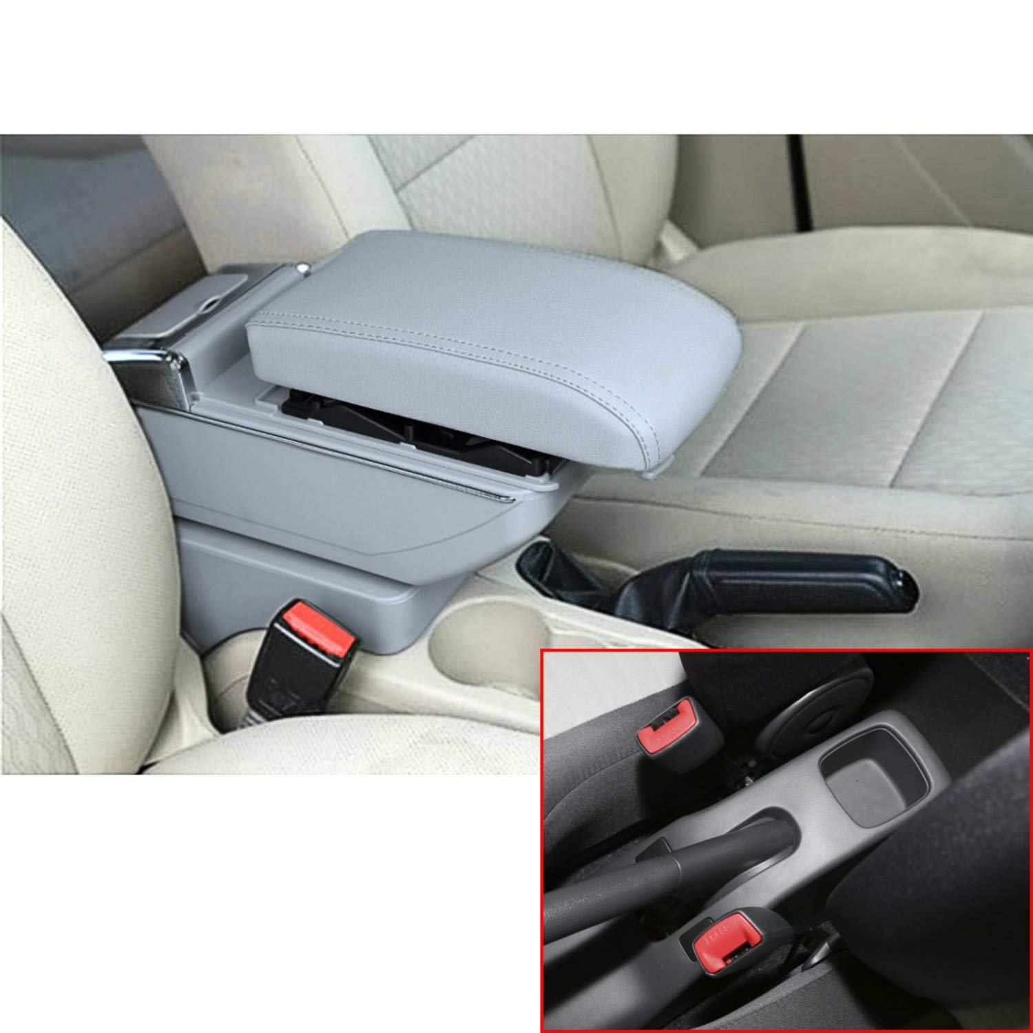 MyGone for 2005-2018 Suzuki Swift Car Interior Accessories Center Consoles Armrest Box,Oversized Storage Space,Cover can be Raised,Built-in LED ...