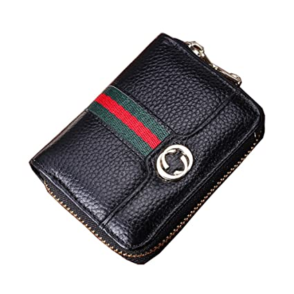 Men Rfid Card Holder Wallet Genuine Leather Credit Card Holder Rfid Blocking Zipper Wallet Small Car Key Wallet 100% Original Wallets Luggage & Bags