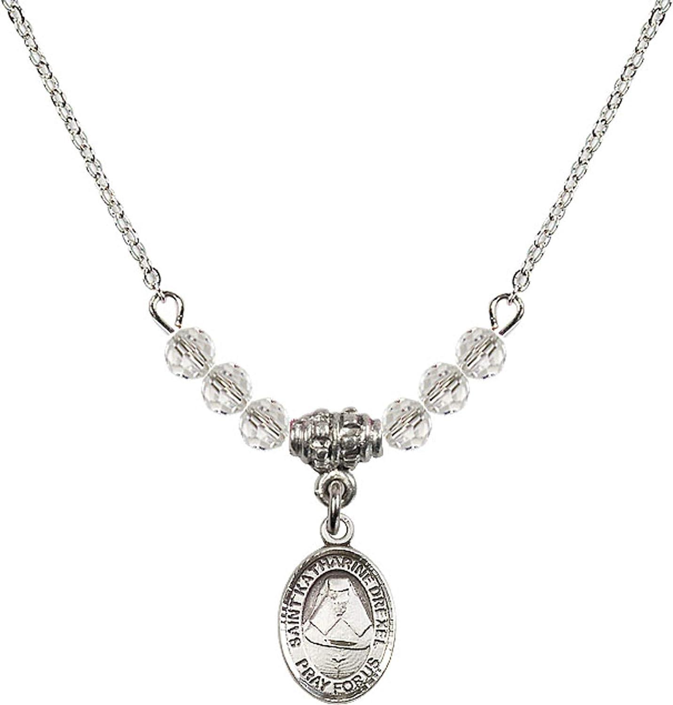 Bonyak Jewelry 18 Inch Rhodium Plated Necklace w// 4mm White April Birth Month Stone Beads and Saint Katharine Drexel Charm