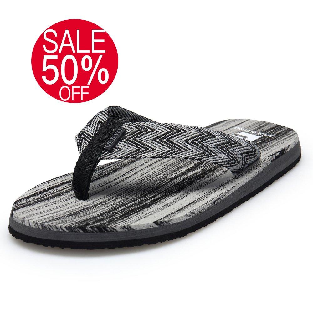 QLEYO Men Sandals Flip Flops Bath Shower Shoes Beach Sandals Comfort Summer Slippers RZT001-M2-43