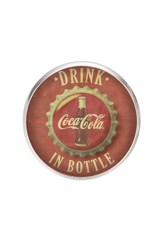 adjustable Stainless steel ring 20 mm tray handmade illustration Coca-Cola Vintage