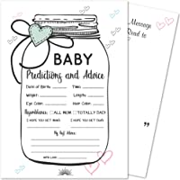 24 Baby Shower Mason Jar Prediction and Advice Game Cards | Gender Neutral, Boy, Girl | Best Wishes & Keepsake Message Area