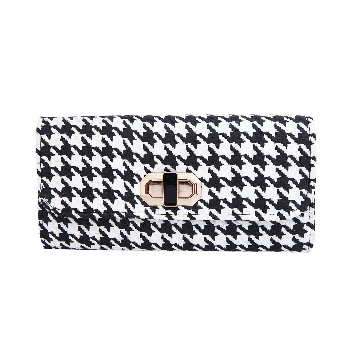 Classic Houndstooth Turnlock Flap Straw Clutch Bag Handbag, Black & White