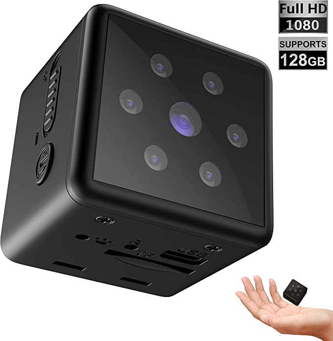 Amazon.com: Mini Spy Camera 1080p Full HD - Mountable Hidden Camera With Motion Detection And Night Vision - Portable Spy Cam For Surveillance - Indoor Nanny Cam - Hidden Security Cameras - Supports 8 to 128GB SD: Home Improvement