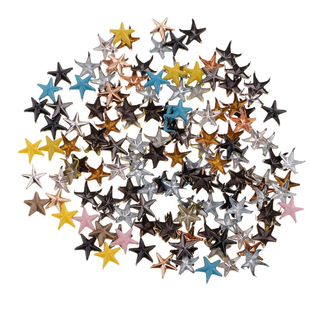 Blesiya 100pcs Multicolor Star Metal Brads For Scrapbooking Brads Rivets Scrapbook Embellishment