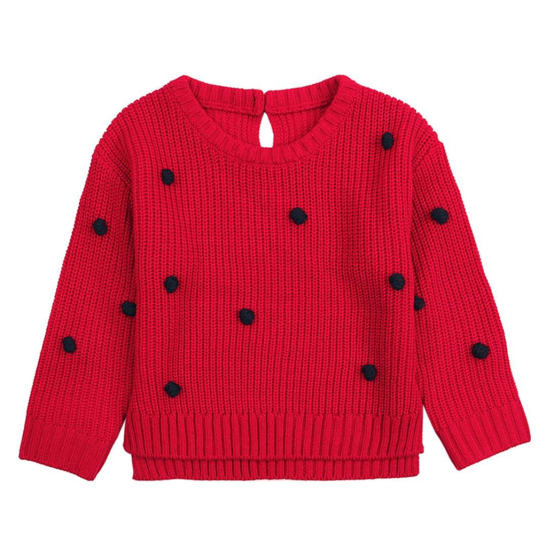 Remiel Store Toddler Girls Boys Knit Warm Solid Long Sleeve Outerwear Sweater Pullover