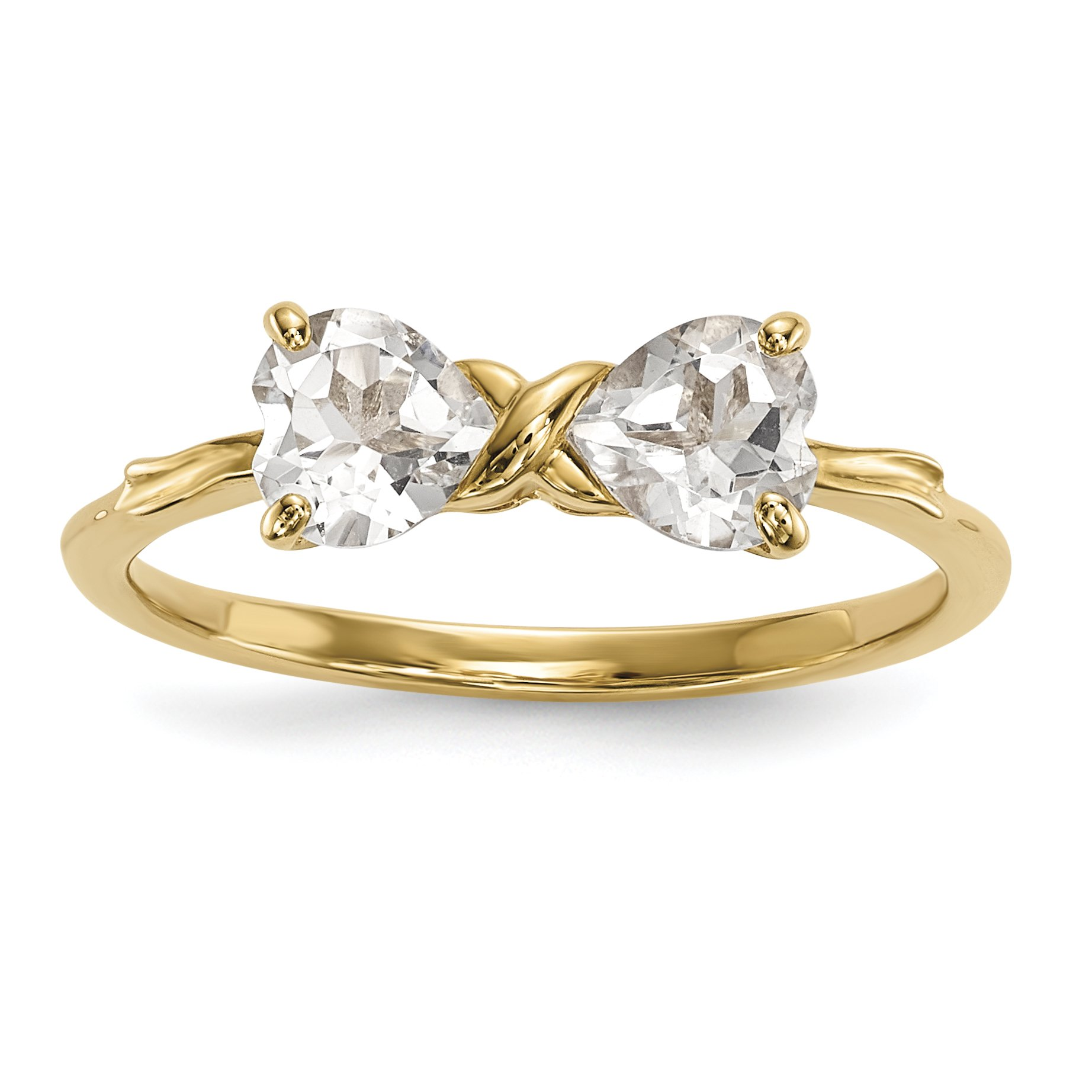 ICE CARATS 14k Yellow Gold White Topaz Bow Band Ring Size 7.00 Birthstone April Set Style Fine Jewelry Gift Set For Women Heart