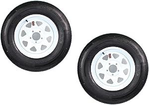 2-Pk Radial Trailer Tire On Rim ST205/75R15 LRC 5 Lug 4.75 in. White Spoke Wheel