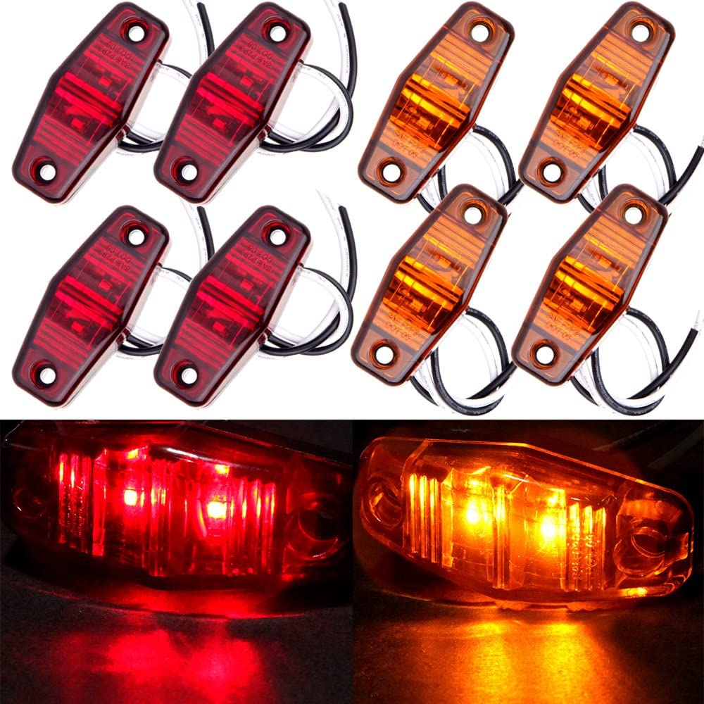 cciyu 8pcs 2 Diode Amber Universal LED Fender Marker Lamp Kits Clear Lens Waterproof Trailer Automotive Boat Side Marker Lights