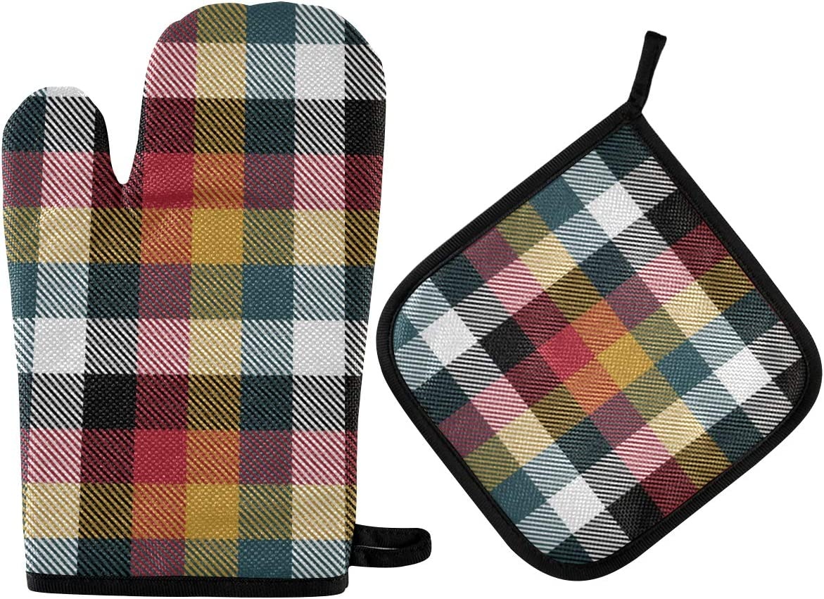ALAZA Oven Mitts & Pot Holders, Tartan Plaid Scottish Protective Heat Resistant Kitchen Microwave Gloves for Baking Cooking Grilling BBQ
