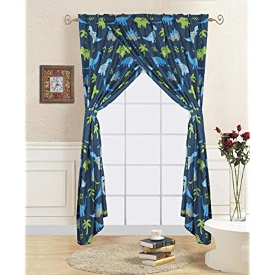 WPM Dinosaur Blue Print Bedding Set Choose from Full/Twin Comforter or Bed Sheets or Window Curtains Panels for Kids/Girls/Boys Room (Window Curtain): Home & Kitchen